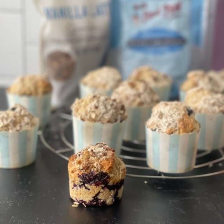 this is a photo of blueberry coffee cake muffins