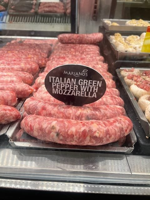 this is a photo of Italian sausage in the meat case at Marianos