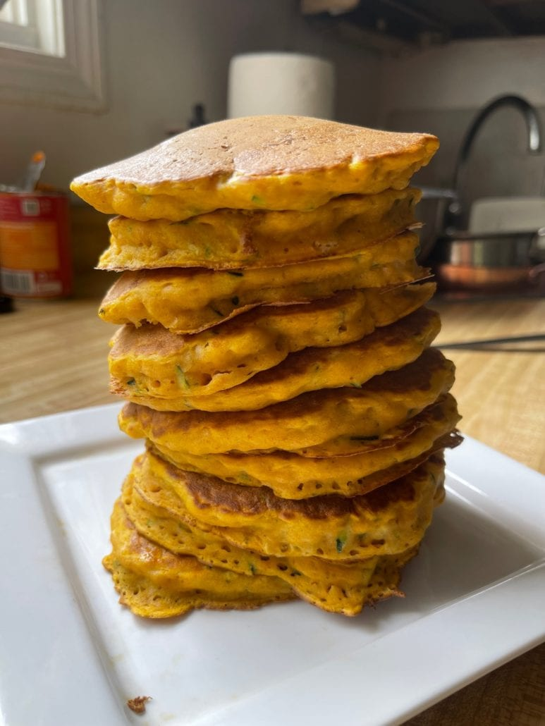 this is a stack of pumpkin pancakes recipe
