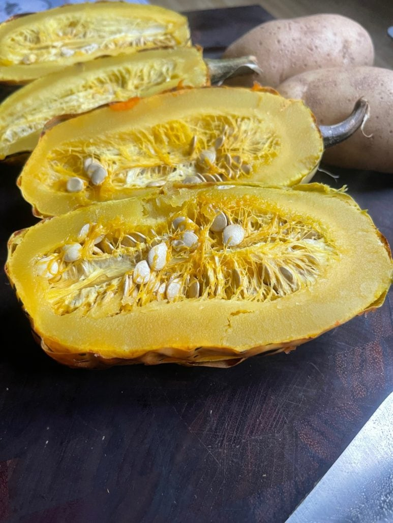 this is a sliced delicata squash