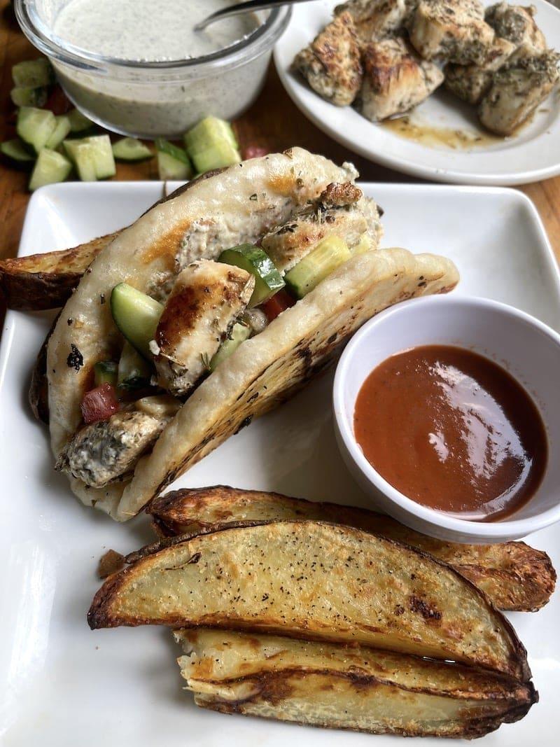 Chicken souvlaki pita sandwich